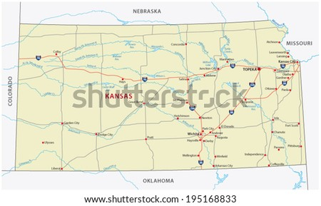 Kansas Map Stock Images RoyaltyFree Images Vectors Shutterstock - Road map of kansas