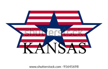 Kansas state map, flag, and name. - stock vector