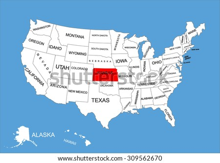 Kansas State, USA, vector map isolated on United states map. Editable blank vector map of USA. - stock vector