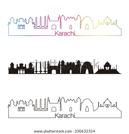 Karachi skyline linear style with rainbow in editable vector file - stock vector