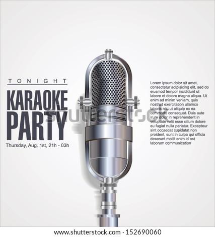 Karaoke party background - stock vector