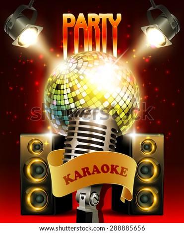 Karaoke Party Background Audio Speakers Disco Stock Vector 288885656 - Shutterstock  Karaoke
