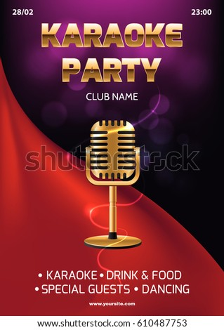 Karaoke party invitation flyer template red em vetor stock 610487753 karaoke party invitation flyer template red curtain on the abstract background light and glare stopboris Image collections