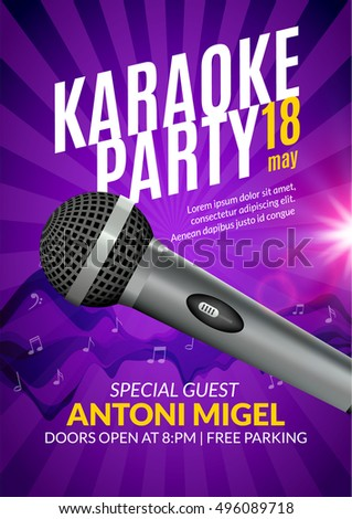 Karaoke Party Invitation Poster Design Template Stock Vector