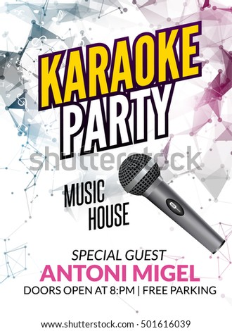 Karaoke party invitation poster design template stock vector karaoke party invitation poster design template karaoke night flyer design music voice concert stopboris Image collections