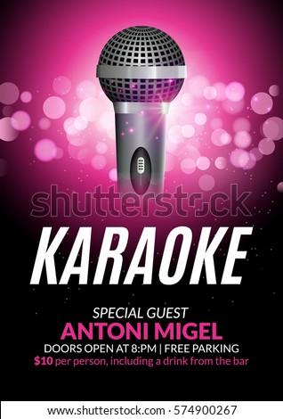 Karaoke party invitation poster design template. Karaoke night flyer design. Music voice concert & Karaoke Arkivbilder royaltyfrie bilder og vektorer | Shutterstock Pezcame.Com