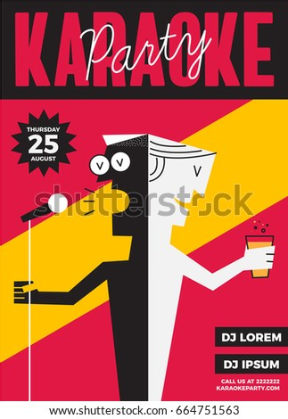 Karaoke party invitation poster design text stock vector 664751563 karaoke party invitation poster design with text box template karaoke night flyer design a stopboris Choice Image