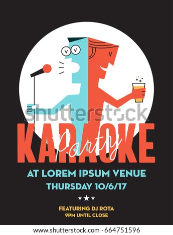 Karaoke Party Invitation Poster Design With Text Box Template. Karaoke  Night Flyer Design. A