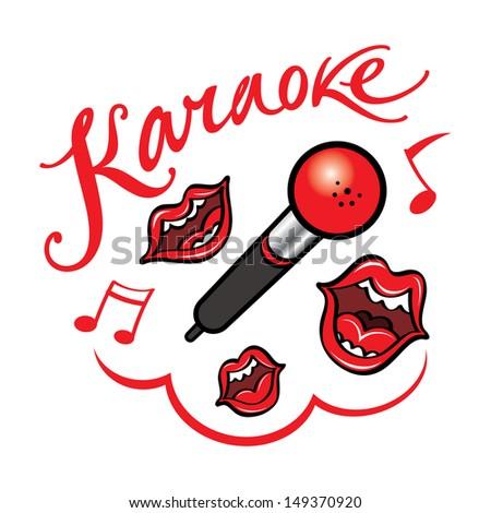 Karaoke singing song fun bar restaurant leisure - stock vector