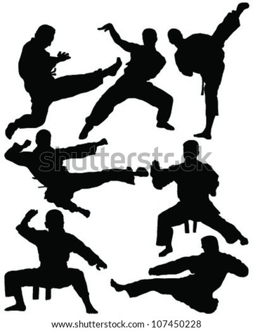 Karate a silhouette on a white background -vector - stock vector