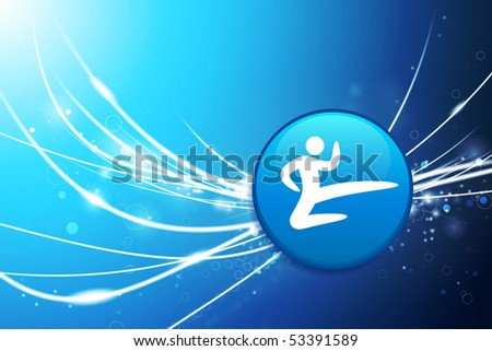 Karate Button on Blue Abstract Light Background Original Illustration - stock vector