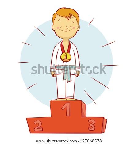 Karate champion kid - stock vector