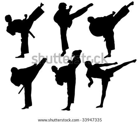 karate fighter performing high kick - stock vector