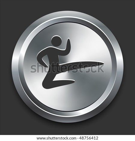 Karate Icon on Metal Internet Button Original Vector Illustration - stock vector