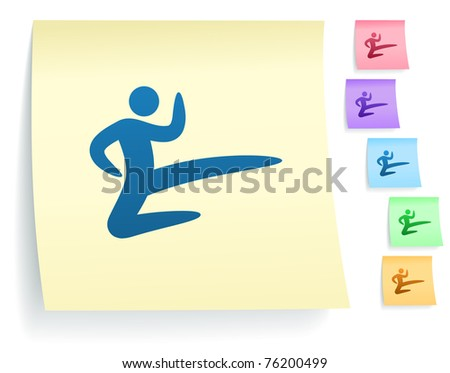 Karate Icon on Post It Note Paper Collection Original Illustration - stock vector