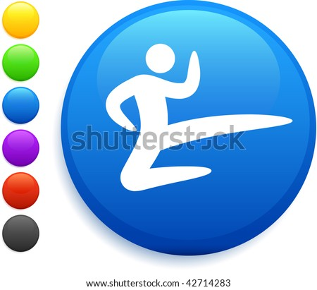 karate icon on round internet button original vector illustration 6 color versions included - stock vector