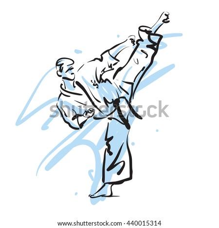 karate kick, vector illustration - stock vector