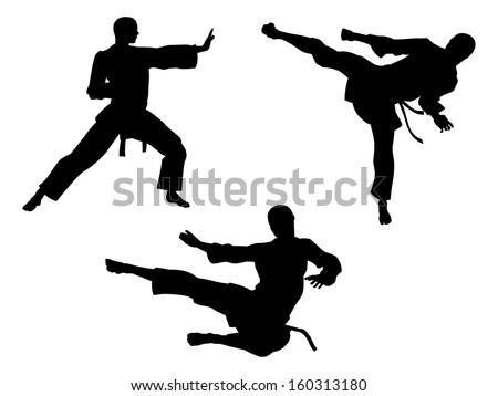 Karate martial art silhouettes of men in various karate or other martial art poses, including high kick and flying kick  - stock vector