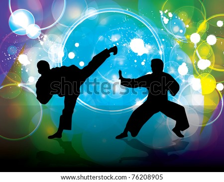 Karate poster - stock vector