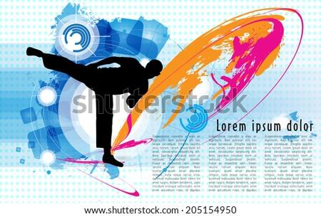 Karate poster. Vector - stock vector
