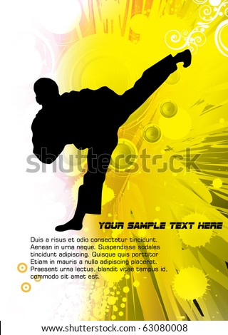 Karate poster with abstract yellow background - stock vector