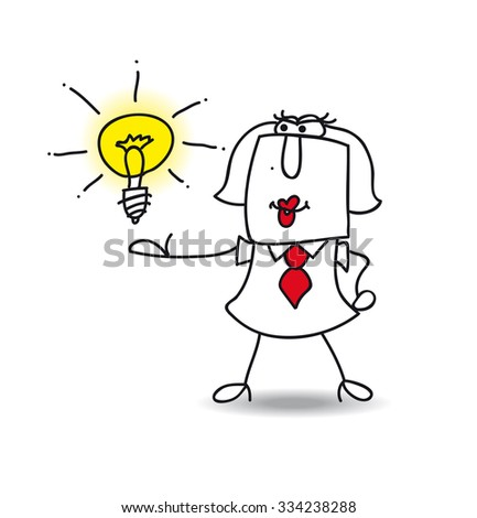 Karen presents an idea. Karen the businesswoman is very intelligent. She presents her idea - stock vector
