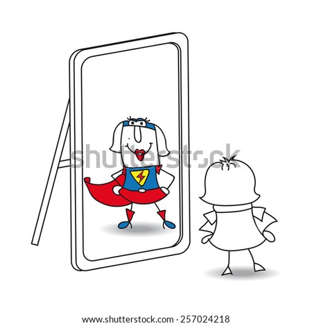 Karen super girl in the mirror. Karen looks in the mirror. She sees a super woman in the reflection. It's a metaphor of the power which is in each person - stock vector
