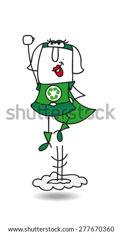 Karen the super recycling woman in action. Super Recycling woman is flying very fast ! It's an emergency. She can help your company to recycling her wastes ! - stock vector