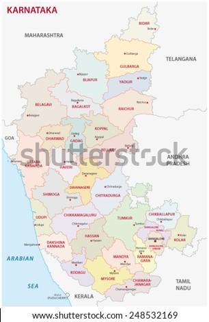 Karnataka District Map Stock Vector 248532169 - Shutterstock