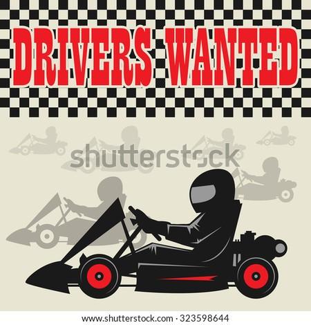 Karting Go Cart race poster, vector illustration - stock vector