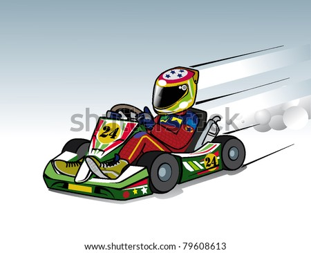 karting race go kart to fast - stock vector