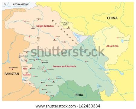 kashmir map - stock vector