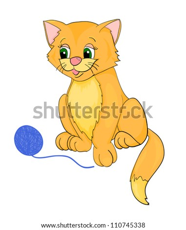 kat cartoon with isolation on a white background - stock vector