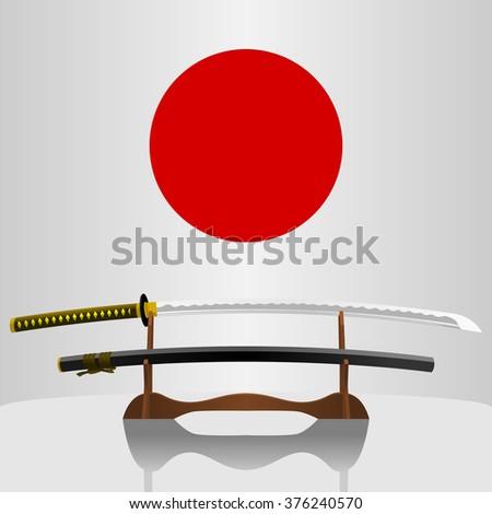 Katana Japanese Sword - stock vector