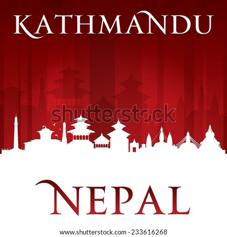 Kathmandu Nepal  city skyline silhouette. Vector illustration - stock vector