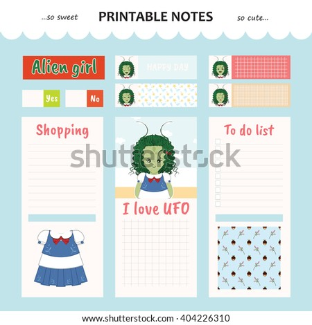 Kawaii and cute set vector design elements for notebook, diary, sticker, label, tag, paper, memo with alien girl illustration. Shopping, to do list. Blue color theme - stock vector