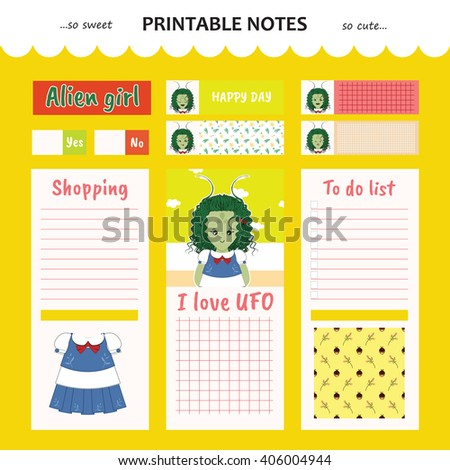Kawaii and cute set vector design elements for notebook, diary, sticker, label, tag, paper, memo with alien girl illustration. Shopping, to do list. Honey yellow color theme - stock vector