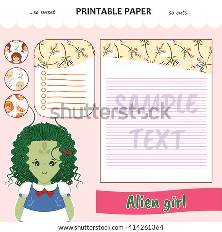 Kawaii and cute set vector printable paper for diary, notebook, letters. Alien girl stickers and illustration. Festive childish cartoon design. Pink color theme  - stock vector