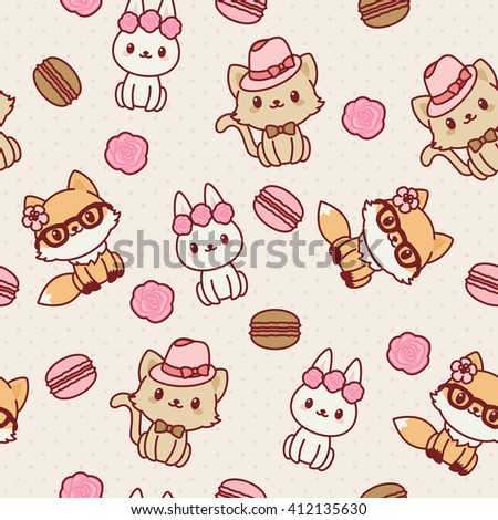 Kawaii animals seamless wallpaper. Vector pattern. Fashion themed.