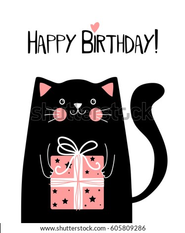 Black Metal Cat Birthday Card