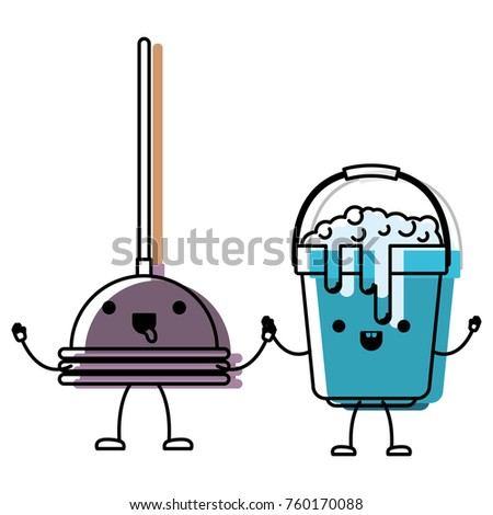 kawaii cartoon toilet pump and bucket with soapy water holding hands in colorful watercolor silhouette