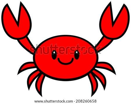 Kawaii Crab - stock vector