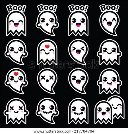 Kawaii cute ghost for Halloween icons set on black  - stock vector