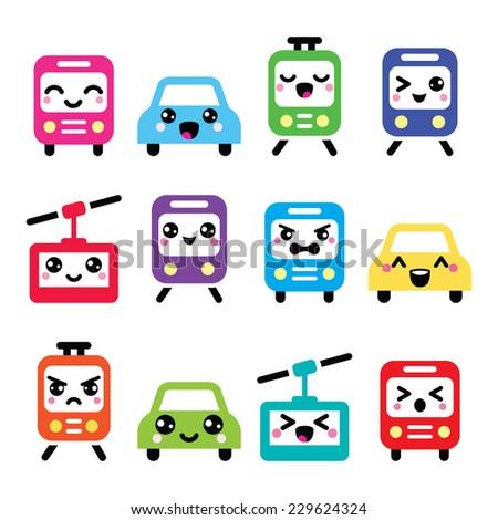 Kawaii cute icons - car, bus, train, tram and gondola  - stock vector