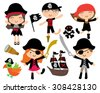 Kawaii Cute Pirate Kids, Pirate Dolls with Pirate Ship - stock vector