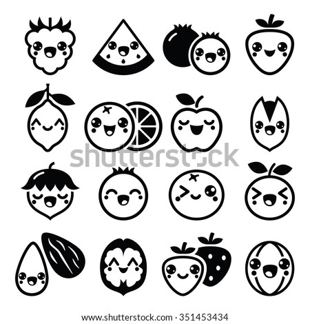 Kawaii fruit and nuts cute characters design  - stock vector