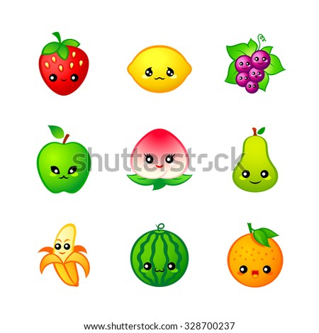 Kawaii fruits icons or stickers with emotions