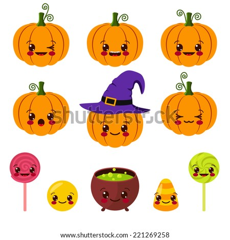 kawaii Halloween symbols - stock vector