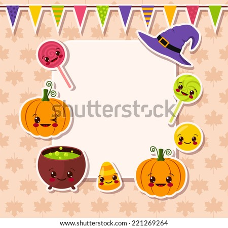 kawaii Halloween symbols with frame - stock vector