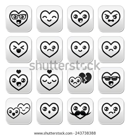 Kawaii hearts, Valentine's Day cute vector buttons set  - stock vector